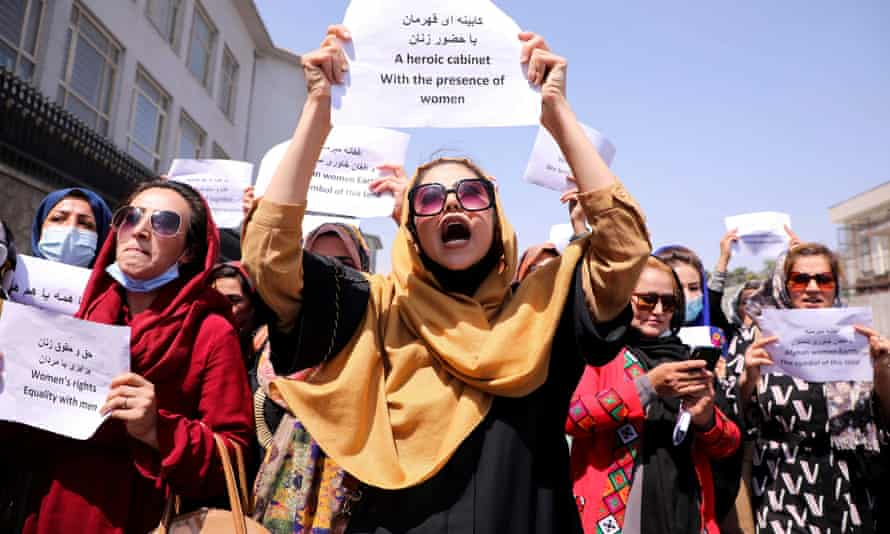 Afghan women protest against the all-men interim government